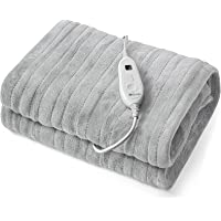 "JinJeeo Heated Blanket Electric Throw Grey 50"" x 60"" Flannel Fast Heating Blanket,6 Heat Settings 2 Hour Auto Shut Off…"
