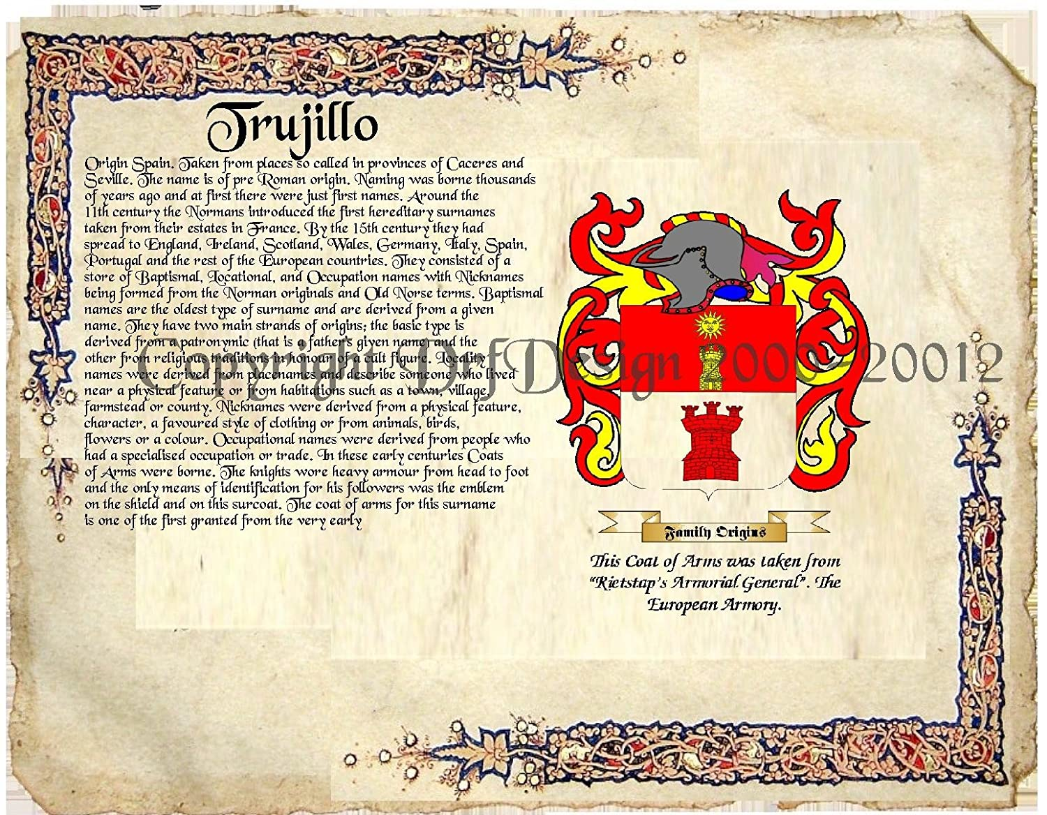 Amazon trujillo coat of arms family crest on fine paper and amazon trujillo coat of arms family crest on fine paper and family history buy 1 get 1 free picture posters prints buycottarizona Image collections