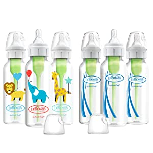 Dr. Brown's Optios+ Baby Bottles, 8oz/250ml, Ballon Animals Designs and Clear Bottles, 6 Count