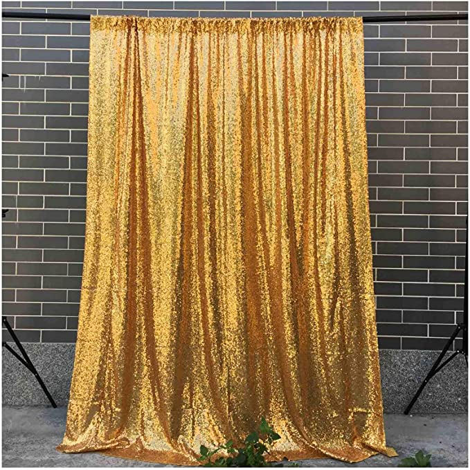 LQIAO 2FTX8FT 2 Panels Pink Gold Sequin Backdrop for Photography Glitter Fabric Curtain Drapes Girls Boys Background Wedding Birthday Parties Shimmer Wall