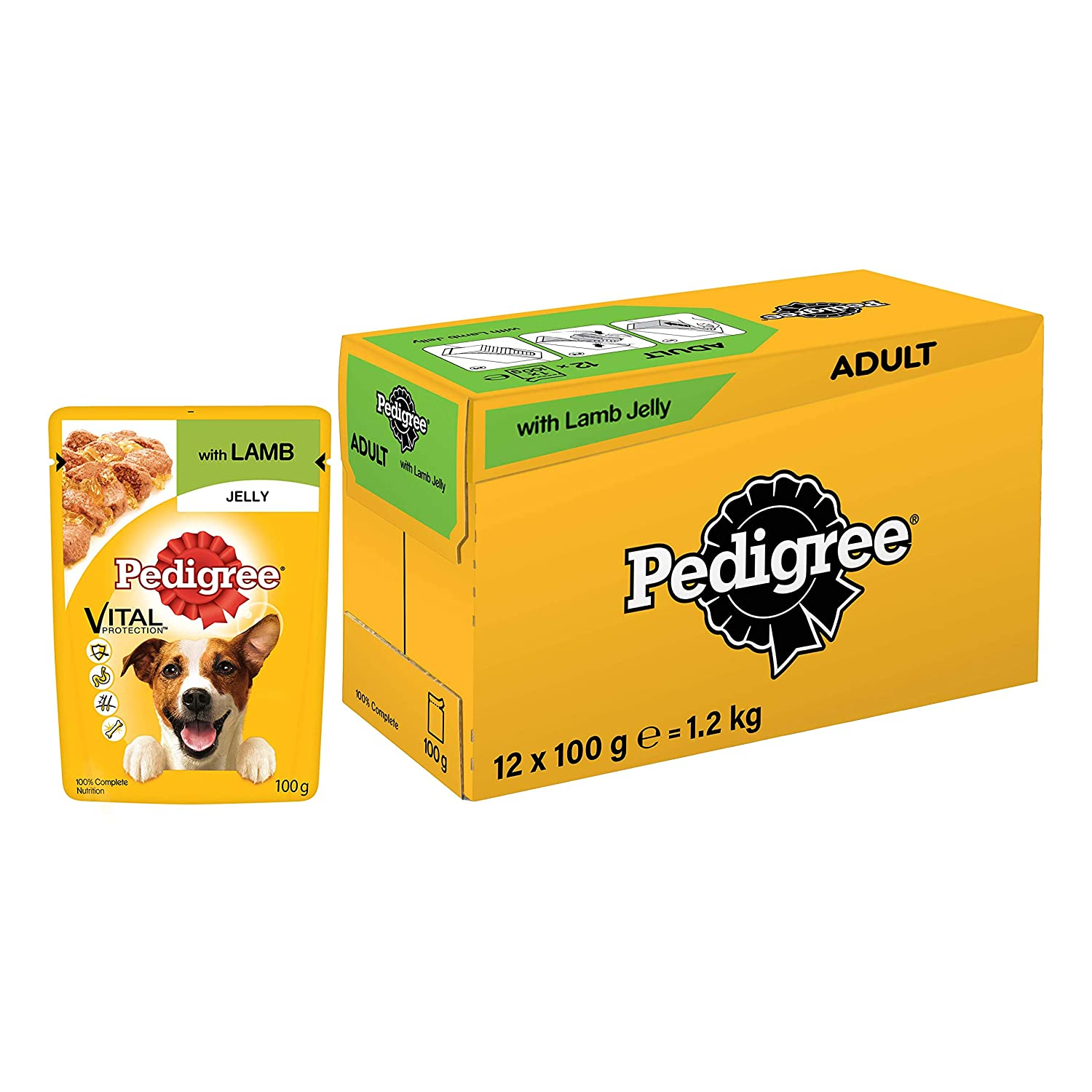Pedigree Vital Protection Adult Wet Dog Food, Lamb in Jelly, (12 Pouches x 100g)