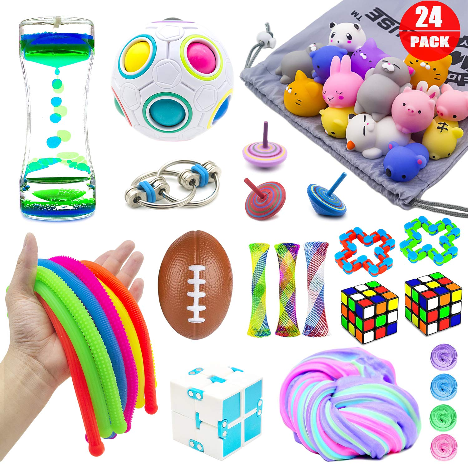 Infinity Cube Fidget Cube Fidget Toy Pack 13 Pcs Sensory Fidget Toys Set for Teens Kids Adults with ADHD Autism Stress Balls Anxiety Relief Toys Marble Mesh Fidgets Puzzle Ball