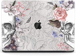 Mertak Hard Case for Apple MacBook Pro 16 Air 13 inch Mac 15 Retina 12 11 2020 2019 2018 2017 Floral Plastic Sketch Roses Touch Bar Boho Protective Skulls Clear Skeleton Anatomy Print Design Cover