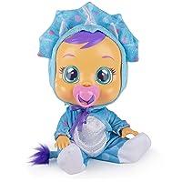 BEBÉS LLORONES Fantasy Tina, el dinosaurio Muñeca Interactiva que llora con chupete y pijama de dinosaurio azul, muñeco…