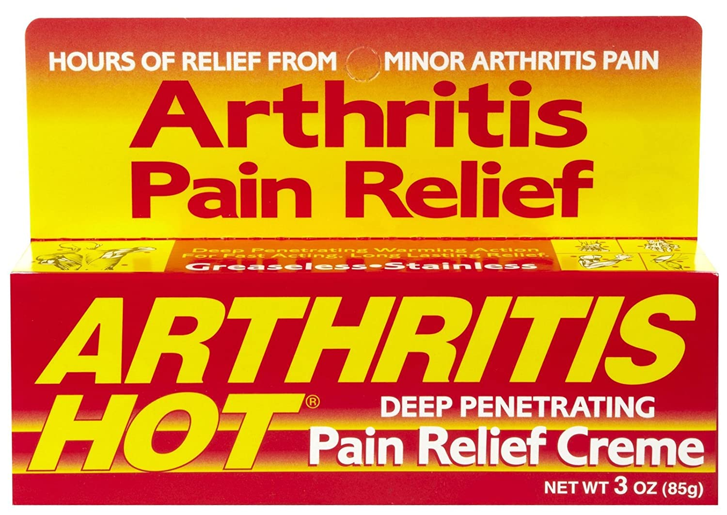 Arthritis Hot Pain Relief Creme 3 oz (Pack of 2) : Pain Relief Rubs : Beauty