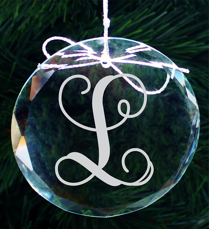 Amazon Personalized Script Monogram Crystal Christmas Ornament