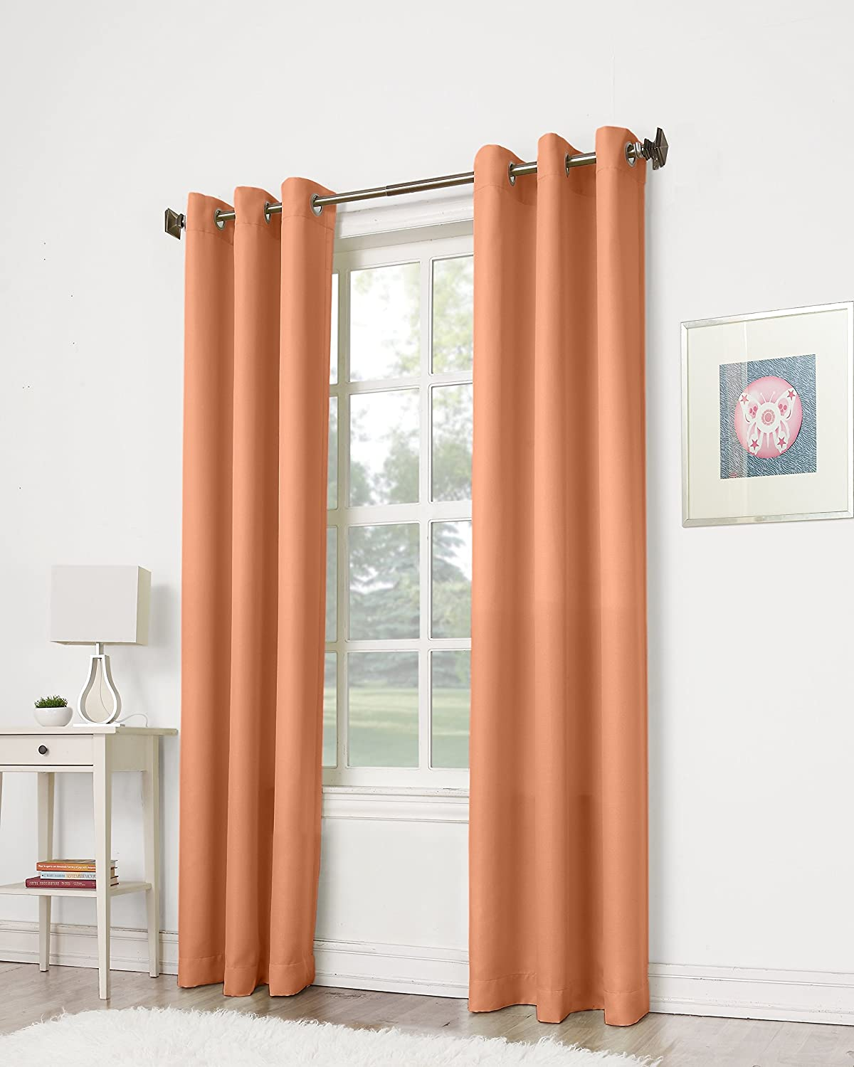 Montego Casual Textured Grommet Curtain Panel Cantaloupe Orange