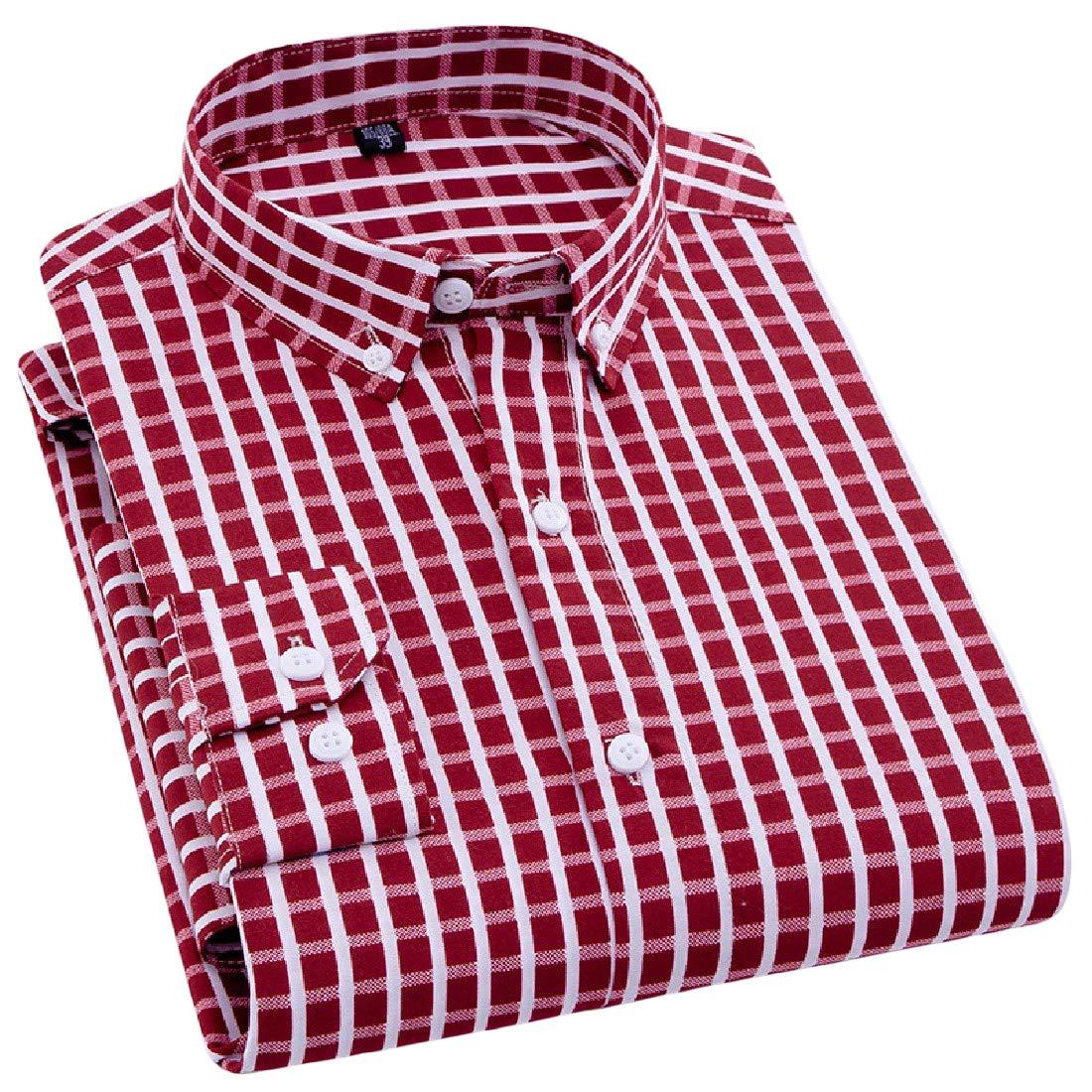 Joe Wenko Men Fashion Printed Casual Long Sleeve Button-Down Shirt