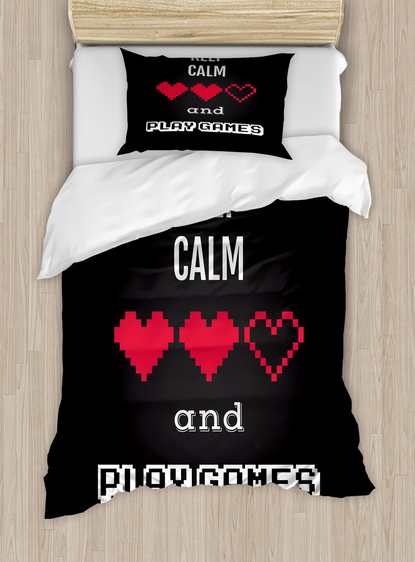 Lunarable Gamer Duvet Cover Set Twin Size, Motivational Keep Calm Quote with Videogame Theme Ombre Background, Decorative 2 Piece Bedding Set with 1 Pillow Sham, Charcoal Grey Vermilion White