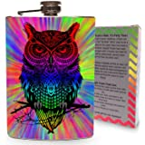 Trippy Rainbow Owl Stainless Steel 8oz Flask Whiskey Drinking Flasks Game Games Hippie Life