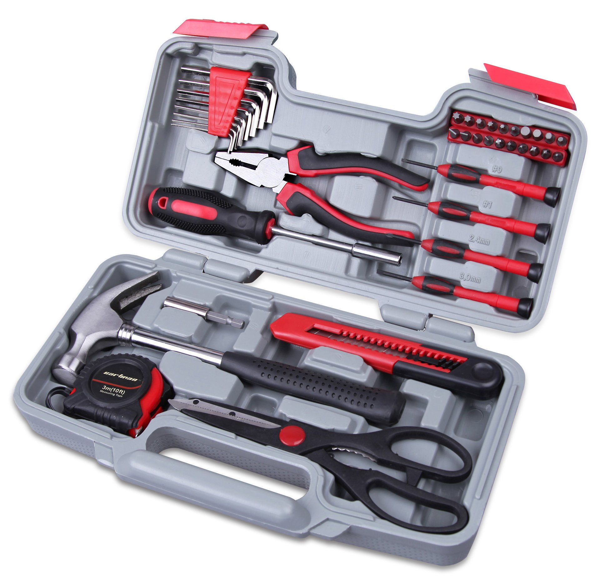 CARTMAN Red 39-Piece Cutting Plier Tool Set - General Household Hand Tool Kit with Plastic Toolbox Storage Case by CARTMAN