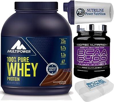 Multipower Pure Whey Protein 100% 2000 gr 2 kg Chocolate Proteína del Sérum de Leche + 375 Bcaa 6400 Aminoácidos Ramificados + Shaker Nutriline y ...