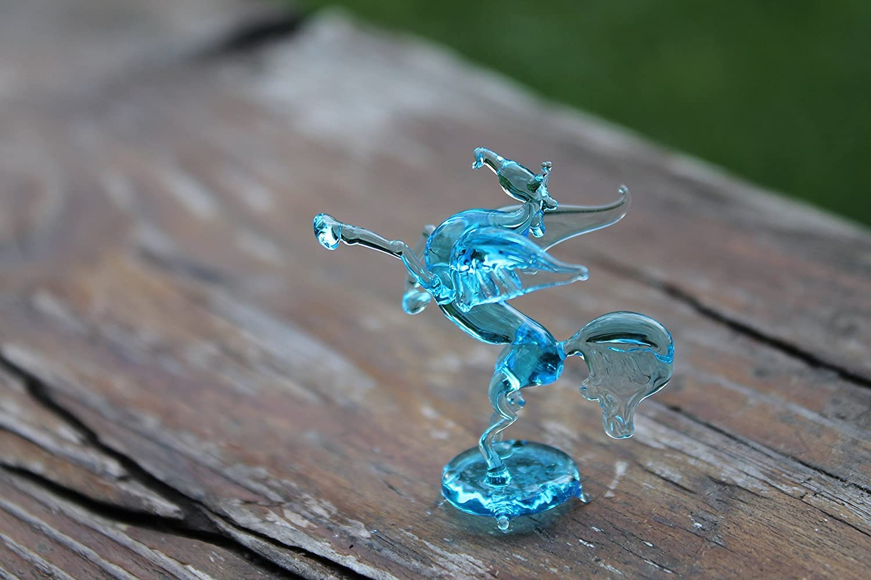 Figurine Animal Miniature Hand Blown Glass Pegasus Hand Blown Art Color Glass Pegasus Figurine