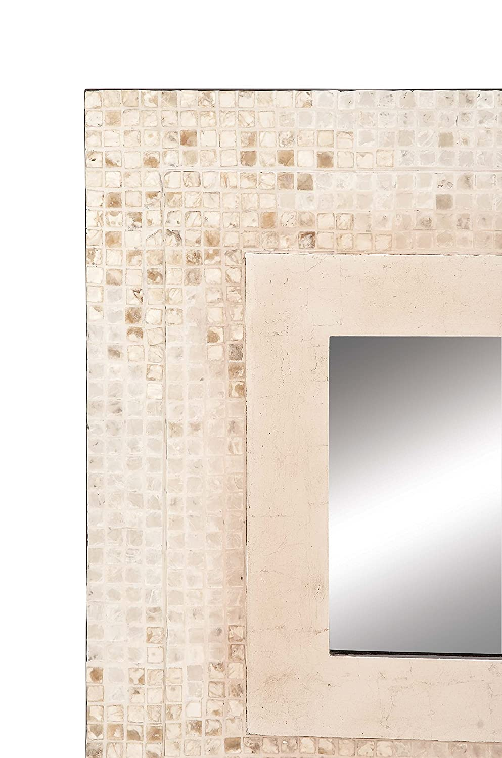 White Benzara Antique Colonial Chic Wood Shell Wall Mirror