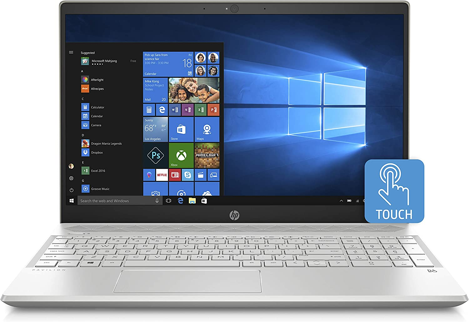 "HP Pavilion 15.6"" Touchscreen Notebook PC - AMD Ryzen 7 Quad Core 2.3GHz 12GB RAM 512GB SSD Webcam Windows 10 (Renewed)"