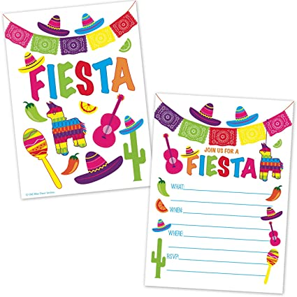 amazon com fiesta party invitations fill in the blank style
