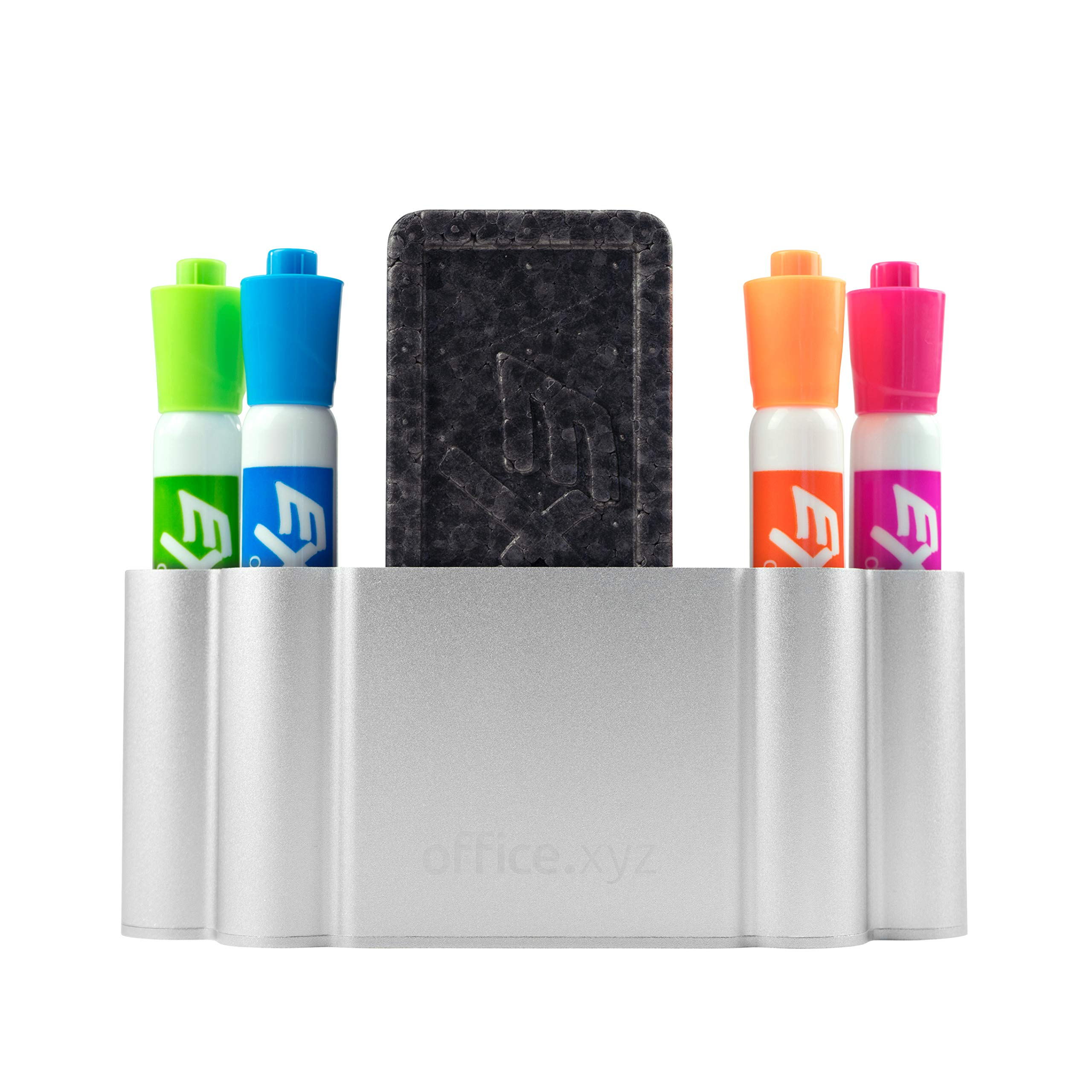 Dry Erase Board Magnetic Marker Holder for Glass or Any Whiteboards (Markers NOT Included) - Powerful Neodymium Magnets (Natural Aluminum) by Glassboard Studio