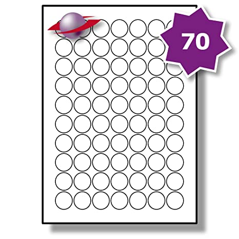 photo regarding Circles Printable named 70 For each Website page/Sheet, 5 Sheets (350 Spherical Sticky Labels), LabelPlanet® White Blank Matt Self-Adhesive A4 Round Circle Price tag Pricing Stickers,