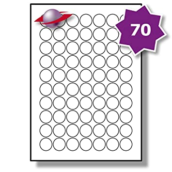70 per page sheet 5 sheets 350 round sticky labels labelplanet