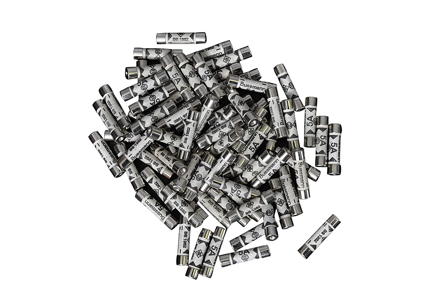 Tech Traders 5AMP Domestic Plug Top Household Mains 5A Cartridge Fuse, Silver, Set of 100 Pieces MEERO Ltd 5AMP-FUSE