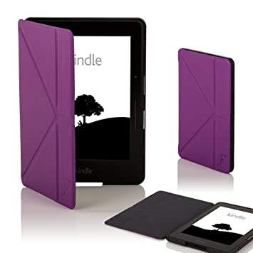Genuine Leather Perfect Fit Origami Standing Cover with Auto Wake//Sleep for  Kindle Voyage Red Kindle Voyage Case