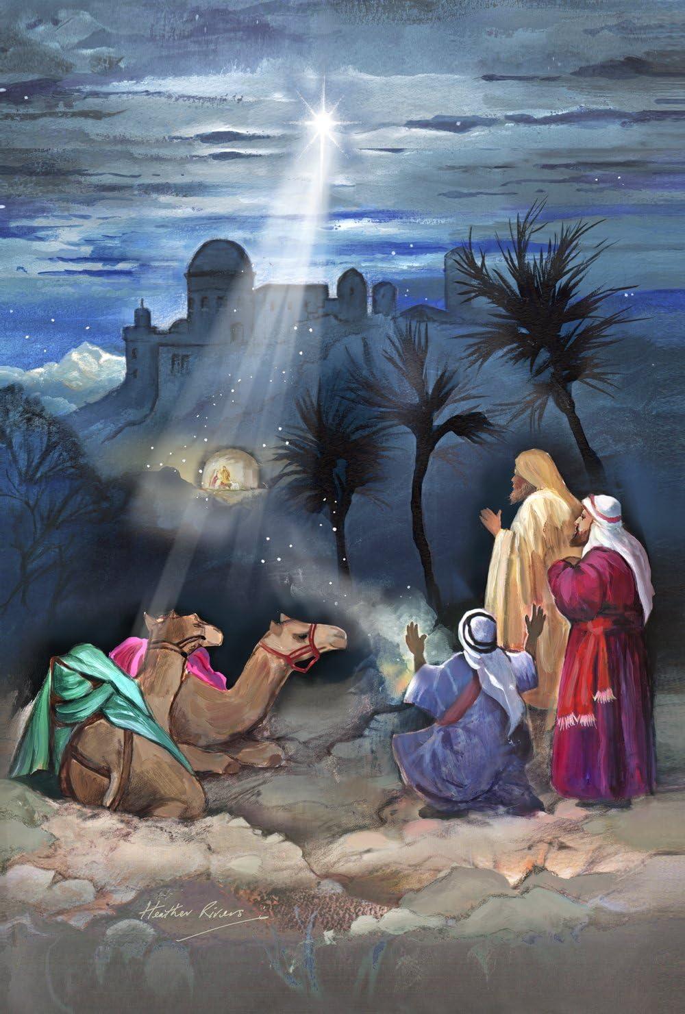 Toland Home Garden Star of Bethlehem 12.5 x 18 Inch Decorative Christmas Jesus Birth Wise Men Garden Flag - 119723, White/Gray/Brown/Green/Blue/Red