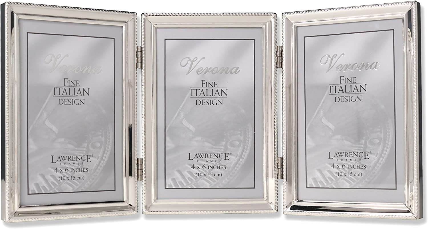 Lawrence Frames Polished Silver Plate 4x6 Hinged Triple Picture Frame - Bead Border Design