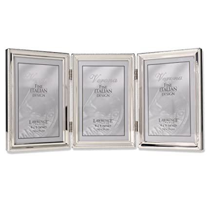 Amazon.com - Lawrence Frames Polished Silver Plate 4x6 Hinged Triple ...