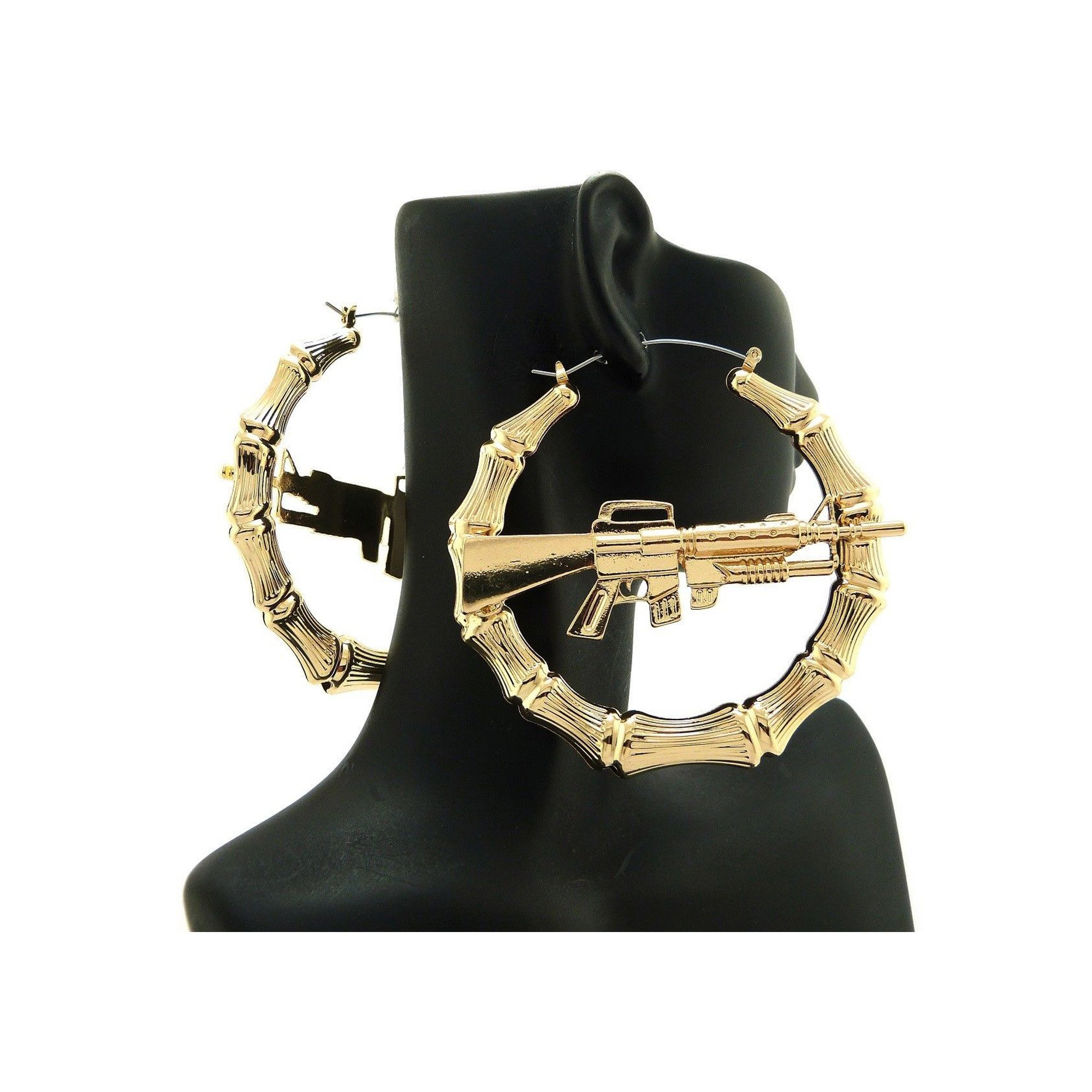 New Celebrity Style 'MACHINE GUN' 3'' Hollow Bamboo Hoop Pincatch Earring XE1122G