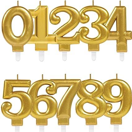 Ca Carpeta Zahlenkerze Zahl 4 In Gold Mit Steckfuß Deko