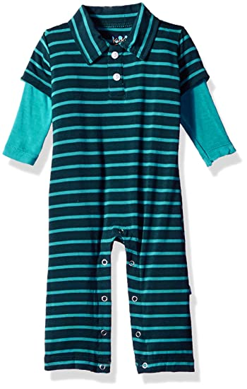 abf44bc0f62c Amazon.com  Kickee Pants Baby Boys  Print Long Sleeve Polo Romper  Prd-kplbr606-bts  Clothing