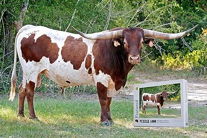 Wooden Longhorn Bull Jigsaw Puzzle