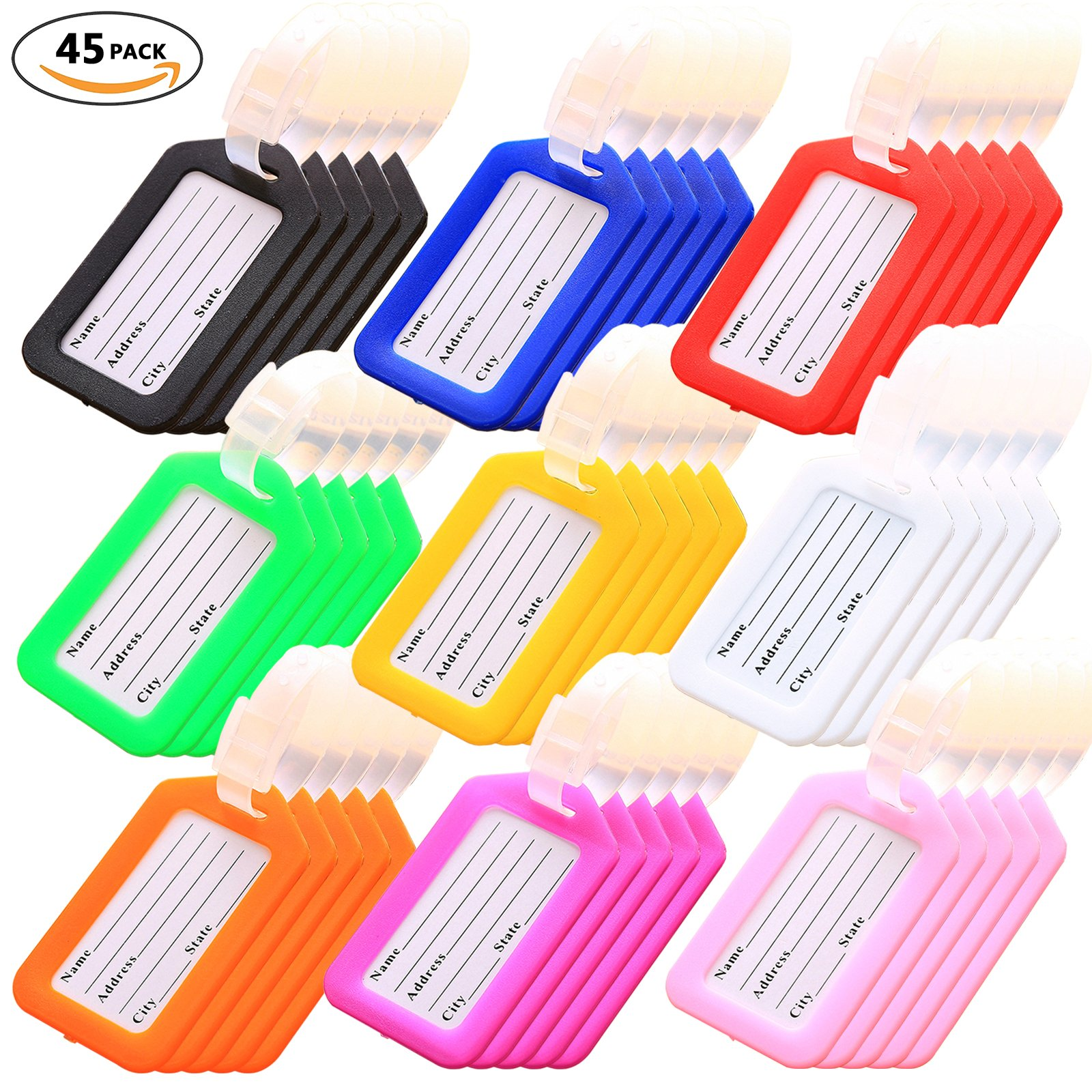 Key Tags, Identifiers Labels For Luggage Suitcases Bags, PVC Travel Baggage Tag Set 45 Pack