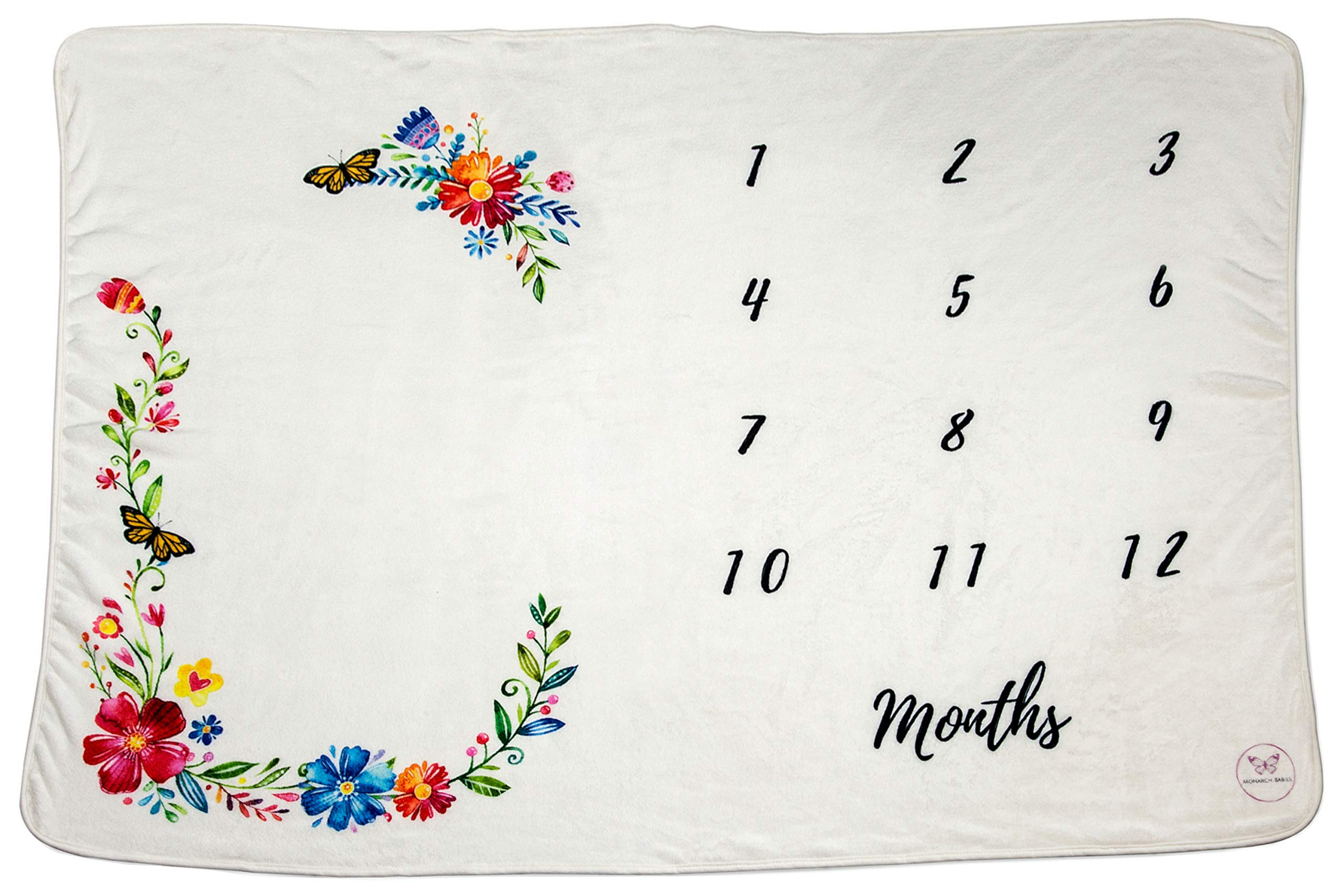 "Monarch Babies | Monthly Milestone Blanket - Floral 60"" x 40"" Thick Ultra-Soft Fleece Backdrop Baby Photography Prop for Newborn Boys & Girls"
