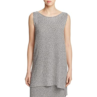 b007dcdff9ad7 Eileen Fisher New Womens Petite Silver Tencel Tunic Sweater Top PS BHFO 8798