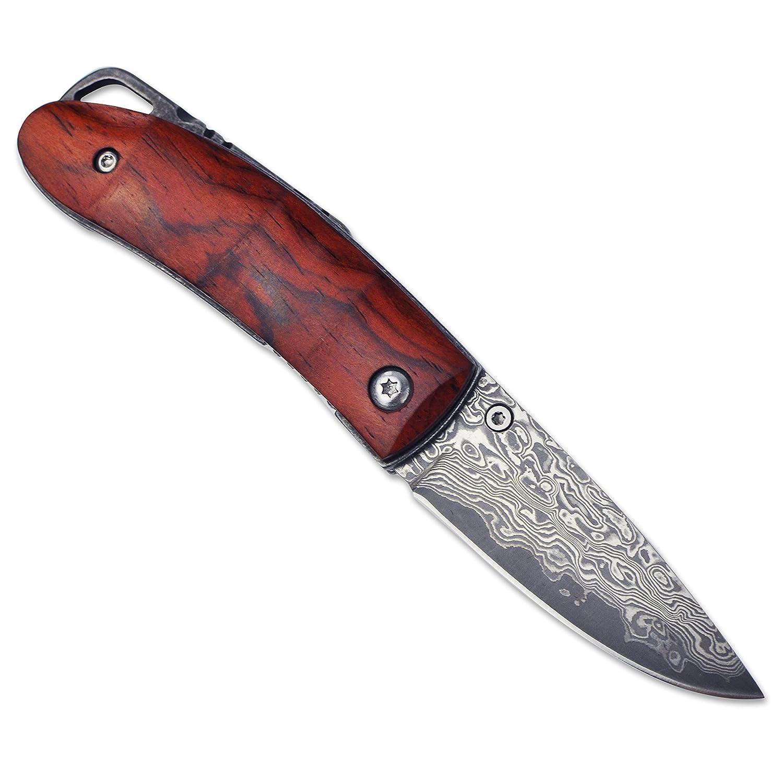 Navaja Kubey hecha a mano con hoja de acero damasquinado y mango de madera de palisandro, 7,6 cm cerrada