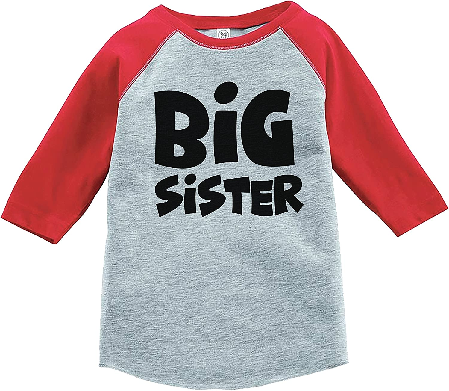 7 ate 9 Apparel Girls Big Sister Red Baseball Tee