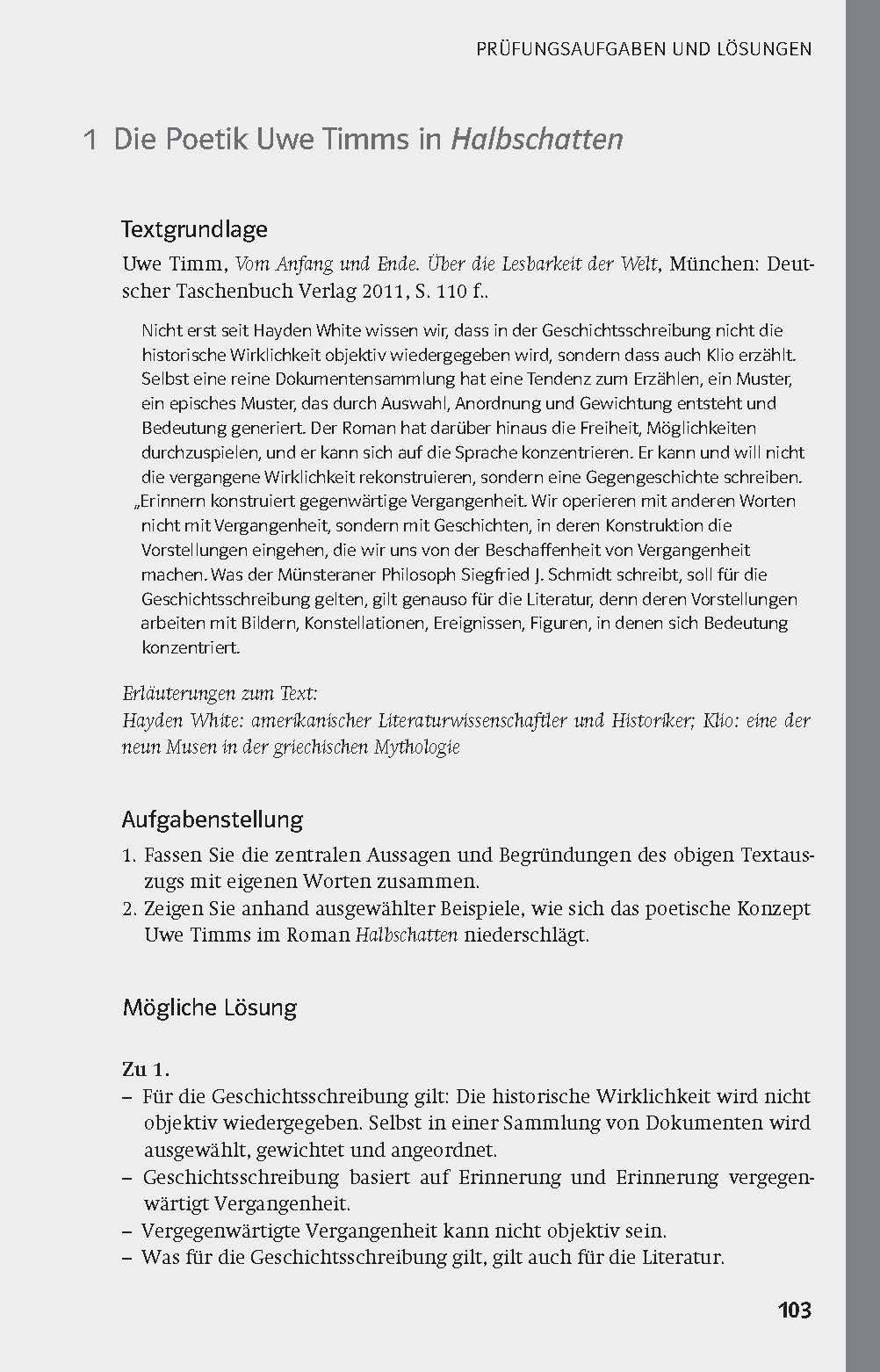 Klett Lektürehilfe Uwe Timm, Halbschatten: Für Oberstufe und Abitur ...