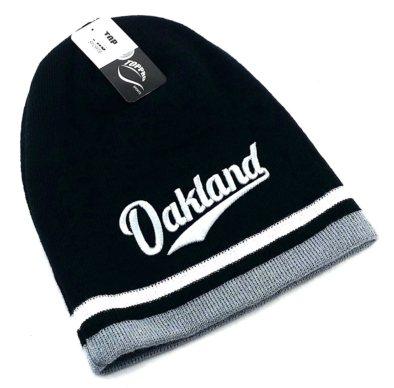 Amazon.com   Leader of the Game Oakland Top Pro New Beanie Toque Skull  Raiders Colors Black Gray White Era Hat Knit Cap   Sports   Outdoors f640bdaeaab