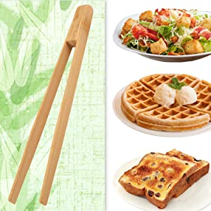 Toaster tongs, toast tongs, Made of pure natural bamboo, no paint coating, strong grip (1pcs)