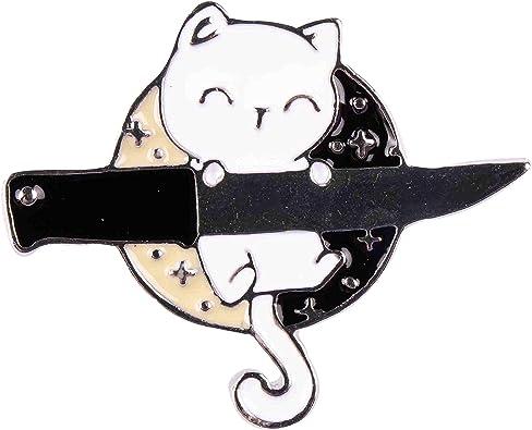 GSM Brands Smiling Ninja Cat with Knife Enamel Lapel Pin