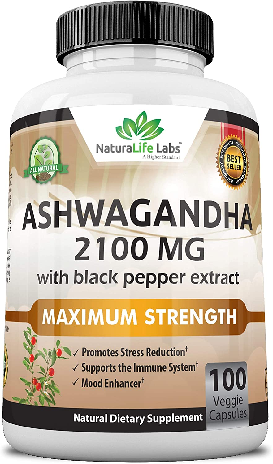 Organic Ashwagandha 2,100 mg - 100 Vegan Capsules Pure Organic Ashwagandha Powder and Root Extract - Natural Anxiety Relief, Mood Enhancer, Immune & Thyroid Support, Anti Anxiety: Health & Personal Care