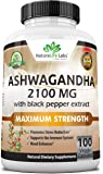 Organic Ashwagandha 2,100 mg - 100 Vegan Capsules Pure Organic Ashwagandha Root Extract and Powder - Natural Anxiety…
