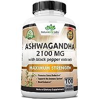 Organic Ashwagandha 2,100 mg - 100 Vegan Capsules Pure Organic Ashwagandha Powder and Root Extract - Natural Anxiety Relief, Mood Enhancer, Immune & Thyroid Support, Anti Anxiety
