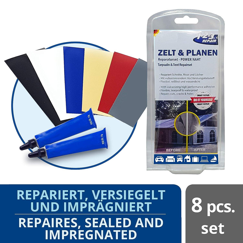 1-2-3REPAIR Kit de reparación Lonas toldos láminas de plástico Barca Hinchable