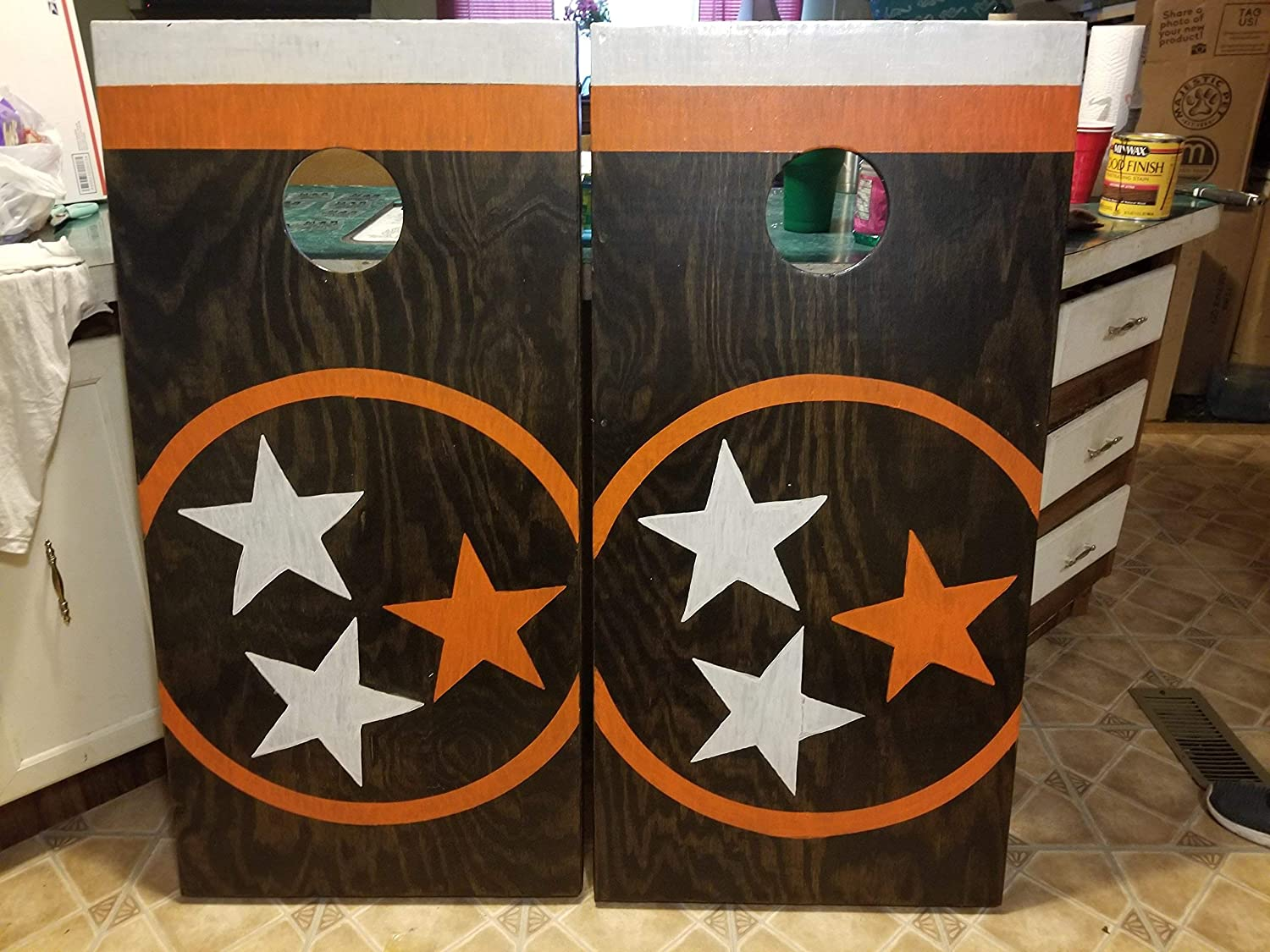 Heavy Duty Hand Painted Cornhole // Bean Bag Toss Set with Bags Custom Built Hand painted any design you want! Order now for the holiday discount!