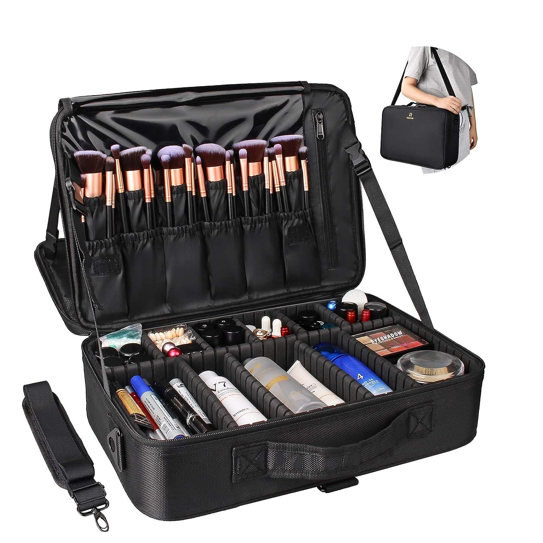 Relavel Professional Makeup Train Case Cosmetic Bag Brush Organizer and Storage