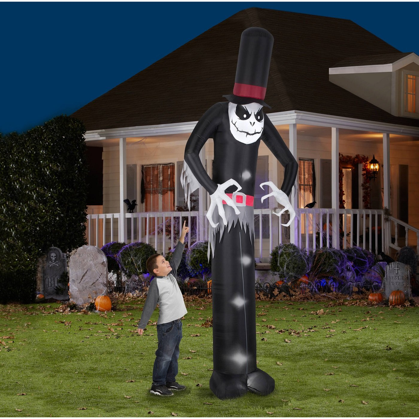 Gemmy Airblown Inflatable Mr. Skeleton Wearing Top Hat - Indoor Outdoor Holiday Decoration, 12-foot Tall