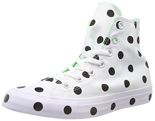 4869f2c40fee Converse Women s CTAS Hi White Black Illusion Green Top Trainers ...