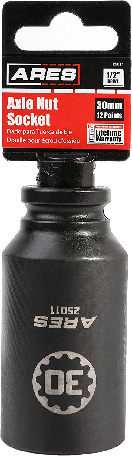 Extra Deep Impact Socket for Easy Removal of Axle Shaft Nuts ARES 25011-1//2-Inch Drive 30MM 12 Point Axle Nut Socket